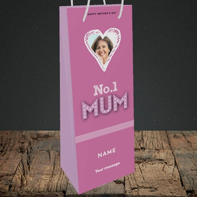 Picture of No.1 Mum (In Lights), Mother's Day Design, Bottle Bag