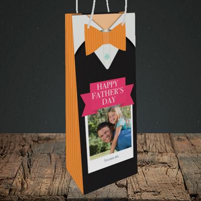 Picture of Bowtie, Father's Day Design, Bottle Bag