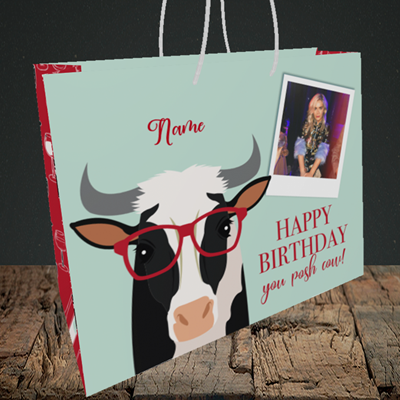 Picture of Cow, Birthday Design, Medium Landscape Gift Bag