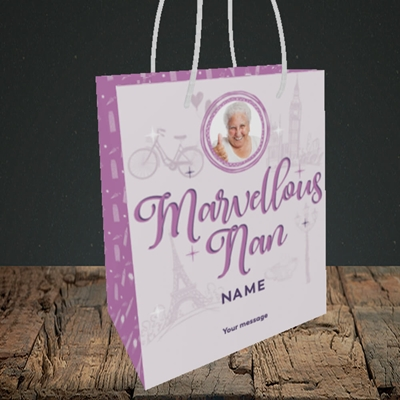 Picture of Marvellous Nan, Mother's Day Design, Small Portrait Gift Bag