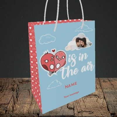 Picture of Love Is In The Air, Valentine's Design, Small Portrait Gift Bag