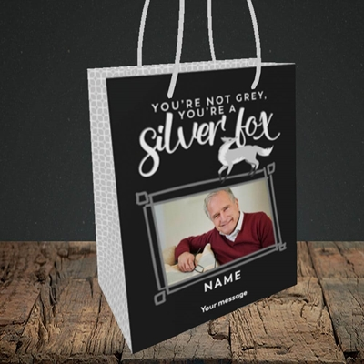 Picture of Silver Fox, Birthday Design, Small portrait Gift Bag