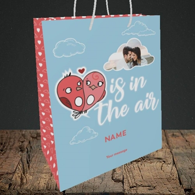 Picture of Love Is In The Air, Valentine's Design, Medium Portrait Gift Bag