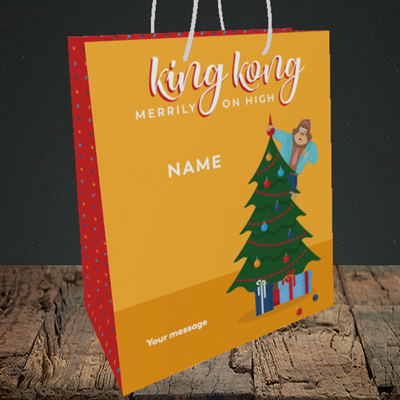 Picture of King Kong, (Without Photo) Christmas Design, Medium Portrait Gift Bag