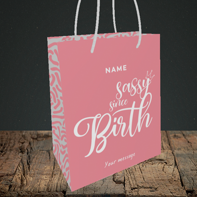 Picture of Sassy, (Without Photo) Birthday Design, Small Portrait Gift Bag