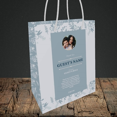 Picture of Floral Strip Edges - Pale Blue SG, Wedding Design, Small Portrait Gift Bag