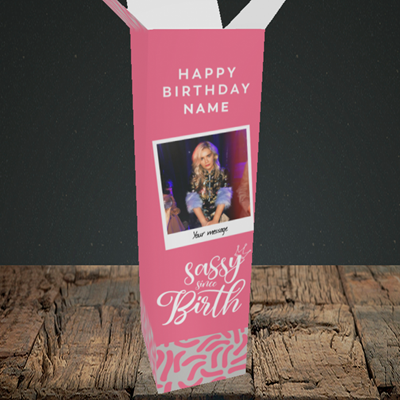Picture of Sassy, Birthday Design, Upright Bottle Box
