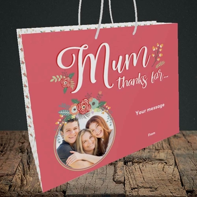 Picture of Mum Thanks For..., Mother's Day Design, Medium Landscape Gift Bag
