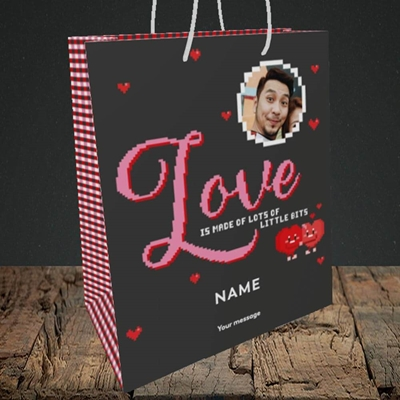 Picture of Love Bits, Valentine's Design, Medium Portrait Gift Bag