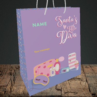 Picture of Little Diva, (Without Photo) Christmas Design, Medium Portrait Gift Bag