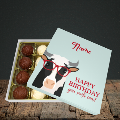 Picture of Cow, (Without Photo) Birthday Design, Choc 16