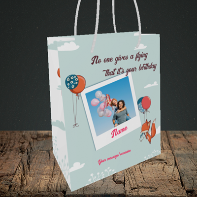 Picture of Fox, Birthday Design, Small Portrait Gift Bag