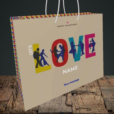 Picture of Let's Love Let's Dance(Without Photo), Valentine's Design, Medium Landscape Gift Bag