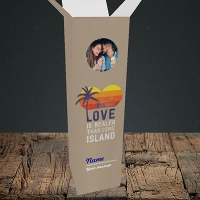 Picture of Our Love Is Realer, Valentine's Design, Upright Bottle Box