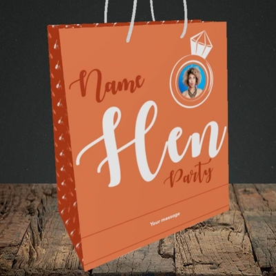 Picture of Hen Party Orange, Wedding Design, Medium Portrait Gift Bag