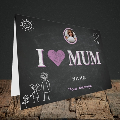 Picture of I Love Mum (Chalk Board), Landscape Greetings Card