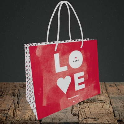 Picture of Love Type (stacked) (Without Photo), Valentine's Design, Small Landscape Gift Bag