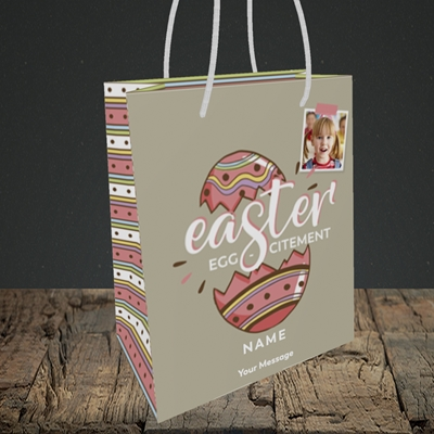 Picture of Egg-citement, Easter Design, Small Portrait Gift Bag