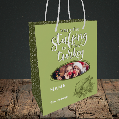 Picture of Stuffing To My Turkey, Christmas Design, Small Portrait Gift Bag