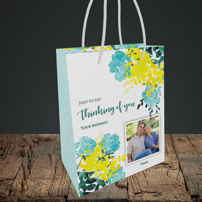 Picture of Watercolour, Thinking of You Design, Small Portrait Gift Bag