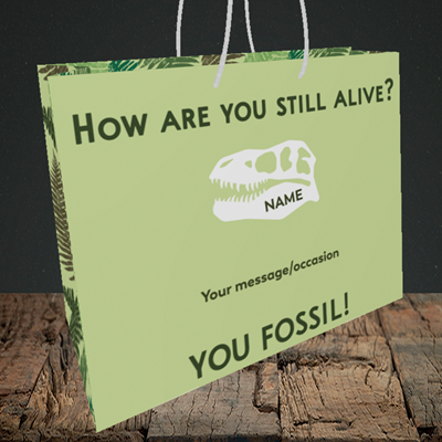 Picture of Fossil, (Without Photo) Birthday Design, Medium Landscape Gift Bag