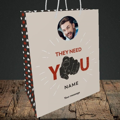 Picture of They Need You, New Job Design, Medium Portrait Gift Bag