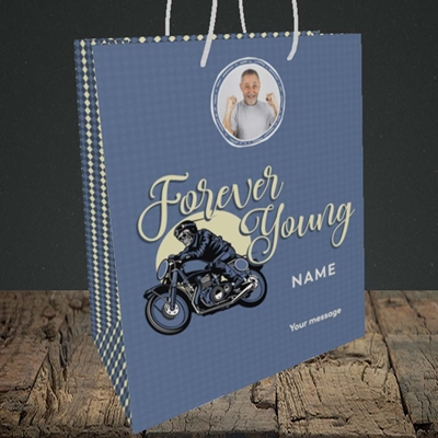Picture of Forever Young (Motorbike), Birthday Design, Medium Portrait Gift Bag