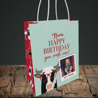 Picture of Cow, Birthday Design, Small Portrait Gift Bag
