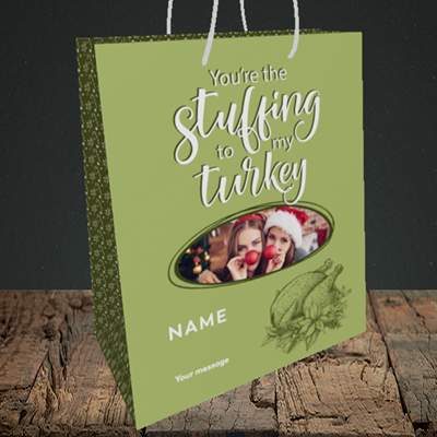Picture of Stuffing To My Turkey, Christmas Design, Medium Portrait Gift Bag