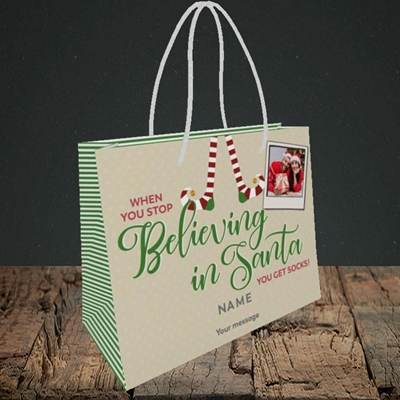 Picture of Believing In Santa, Christmas Design, Small Landscape Gift Bag