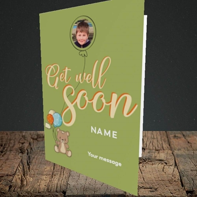 Picture of Bear with Balloons, Get Well Soon Design, Portrait Greetings Card