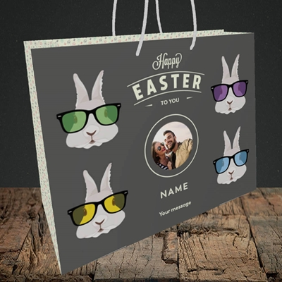 Picture of Hipster Bunnies, Easter Design, Medium Landscape Gift Bag