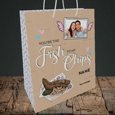 Picture of Fish To My Chips, Valentine's Design, Medium Portrait Gift Bag