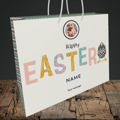Picture of Happy Walking Egg, Easter Design, Medium Landscape Gift Bag