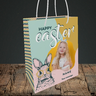 Picture of Bunny With Glasses, Easter Design, Small Portrait Gift Bag