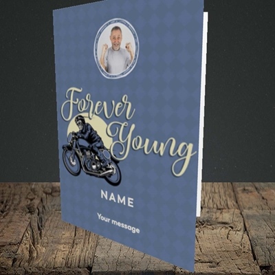 Picture of Forever Young (Motorbike), Birthday Design, Portrait Greetings Card