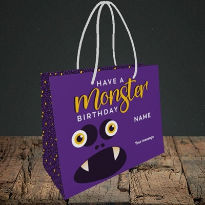 Picture of Monster Face(Without Photo), Birthday Design, Small Landscape Gift Bag