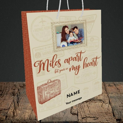 Picture of Miles Apart, Thinking of You Design, Medium Portrait Gift Bag