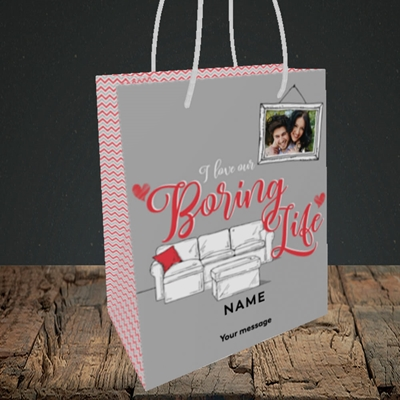 Picture of Boring Life, Valentine's Design, Small Portrait Gift Bag