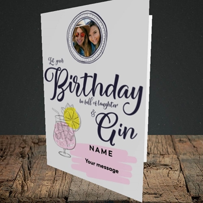 Picture of Birthday Full Of Gin, Birthday Design, Portrait Greetings Card
