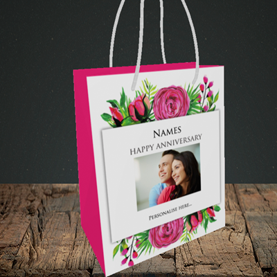 Picture of Flowers, Anniversary Design, Small Portrait Gift Bag