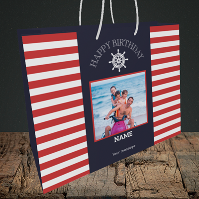 Picture of Nautical, Birthday Design, Medium Landscape Gift Bag