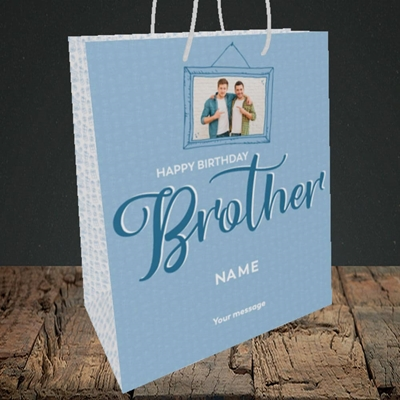 Picture of Brother, Birthday Design, Medium Portrait Gift Bag
