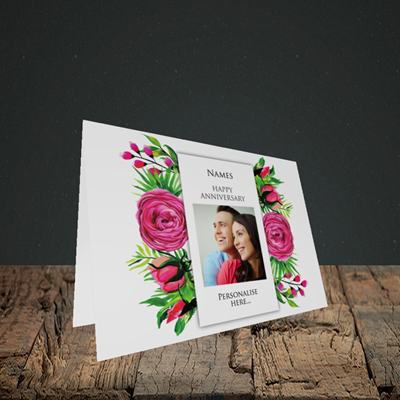 Picture of Flowers, Anniversary Design, Landscape Greetings Card