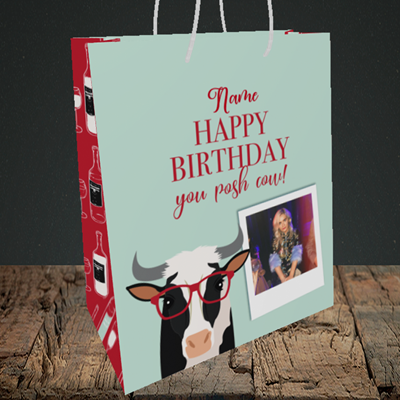 Picture of Cow, Birthday Design, Medium Portrait Gift Bag