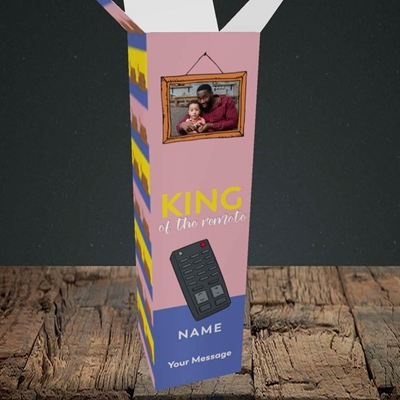 Picture of King Of The Remote, Father's Day Design, Upright Bottle Box