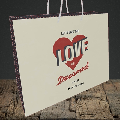 Picture of let's live the love (Without Photo), Valentine's Design, Medium Landscape Gift Bag