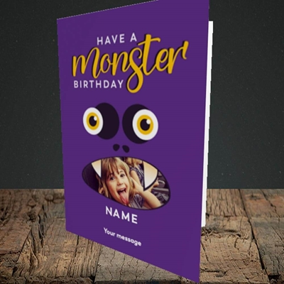 Picture of Monster Face, Birthday Design, Portrait Greetings Card