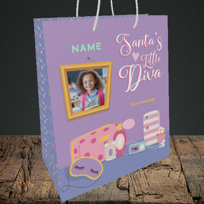 Picture of Little Diva, Christmas Design, Medium Portrait Gift Bag