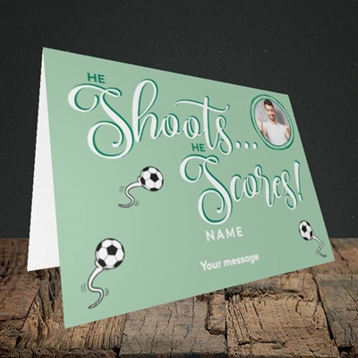 Picture of He Shoots He Scores, Pregnancy Design, Landscape Greetings Card